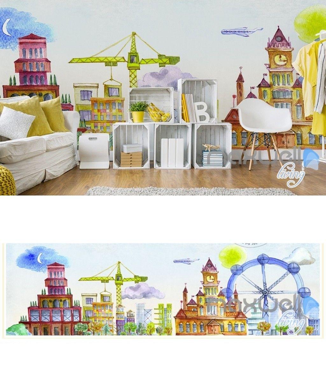 cartoon hand painted castle ferris wheel amusement park kids room rh pinterest com