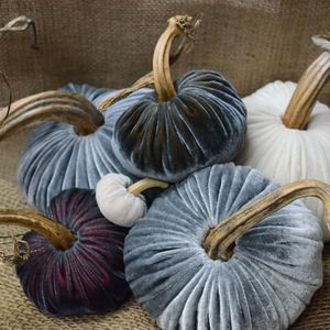 Velvet plush pumpkins.  I want!