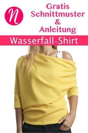 Jersey-Shirt im Wasserfall-Look   Größe S - XL   Nähtalente