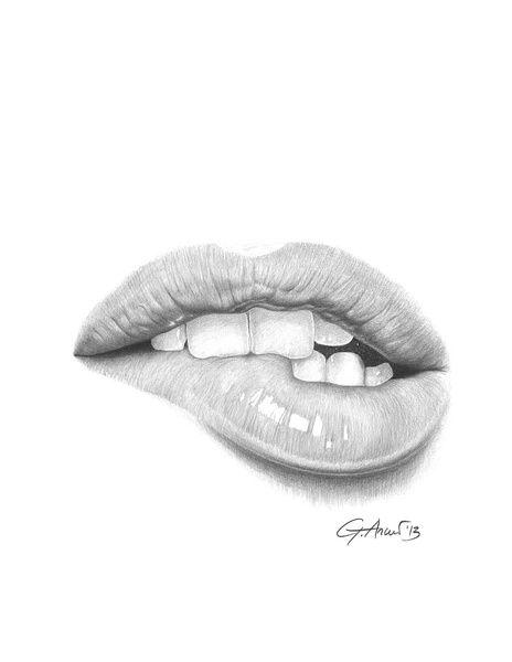 Desiderio  Desire - Lip Bite - Mouth Art Print  Art -9038