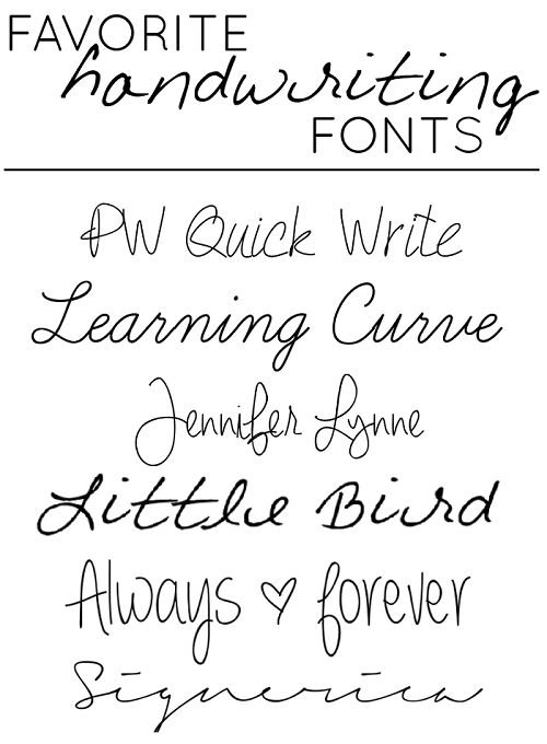 Favorite Handwriting Style Fonts
