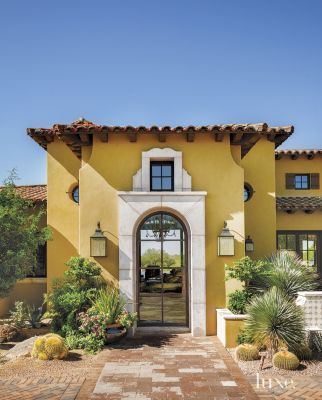 mediterranean yellow front exterior the simple lines of the stone bring the otherwise bland to life - Desert Home Exterior Designs