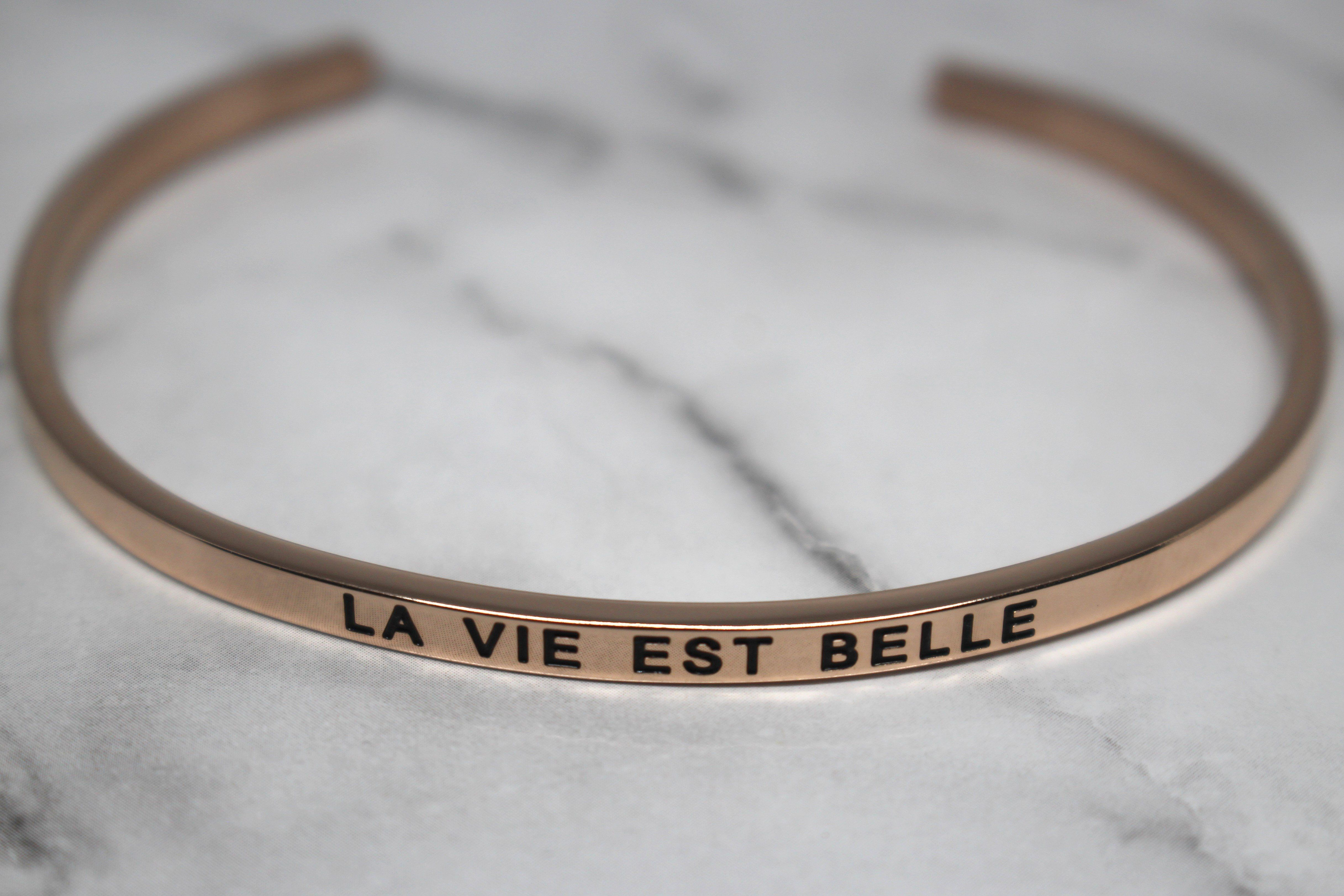 LA VIE EST BELLE* Cuff Bracelet- Rose Gold   Products   Bracelets
