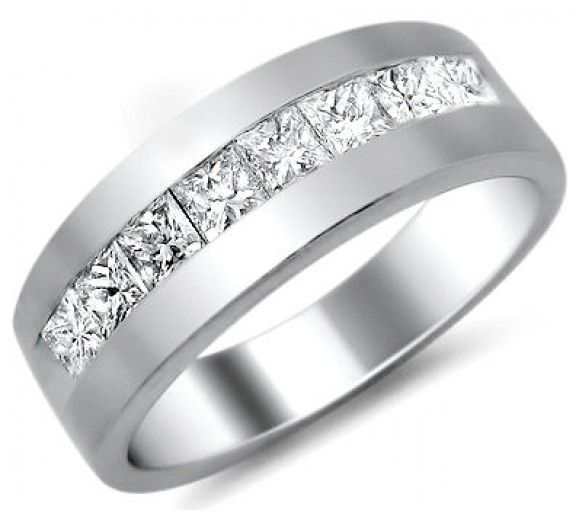 Mens 10ct Princess Cut Diamond Wedding Band Ring Platinum