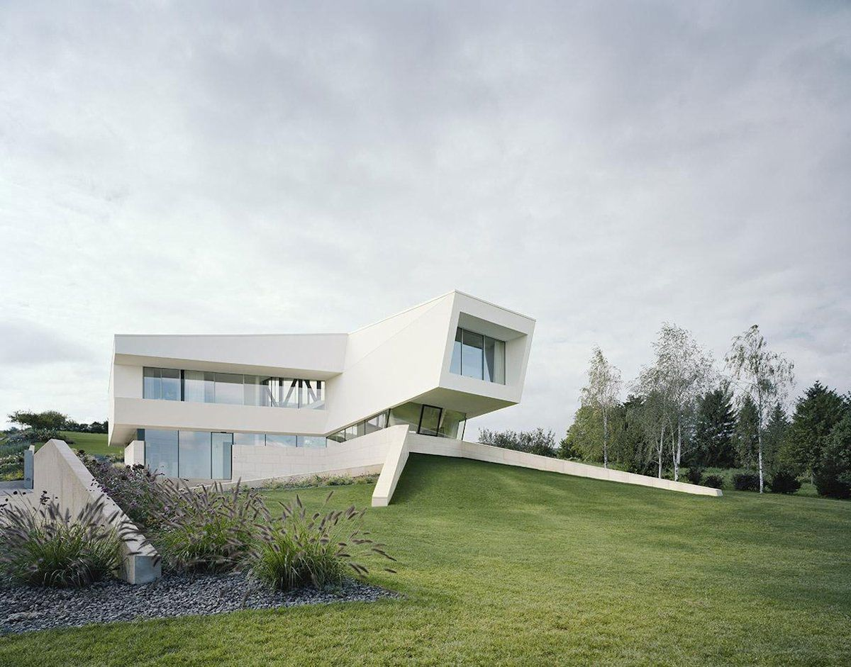 Contemporary Architecture Home Exterior Design Decorated Among White ...