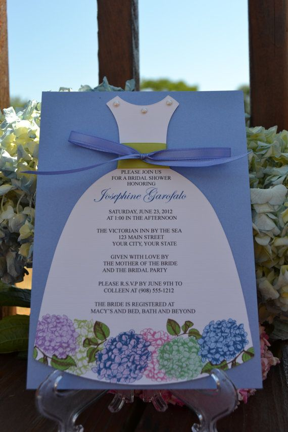 Hydrangea Bridal Shower Dress Invitation by thepaperseamstress