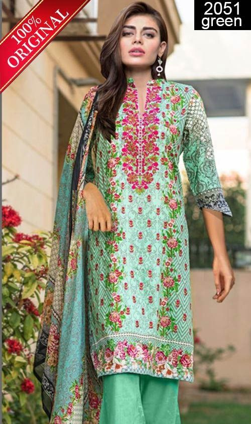 Wyss 2051 Green Full Front Embroidered Designer 3pc Lawn Suit With