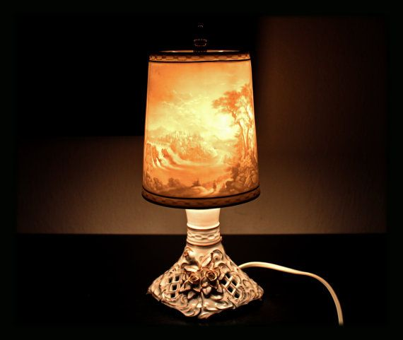 Valentines Gift Rare Lithophane Lamp Table Lamp Vintage Lithophanie Shades German Porcelain Porzellan Manufaktur Plaue Sch Vintage Table Lamp Lamp Candlesticks