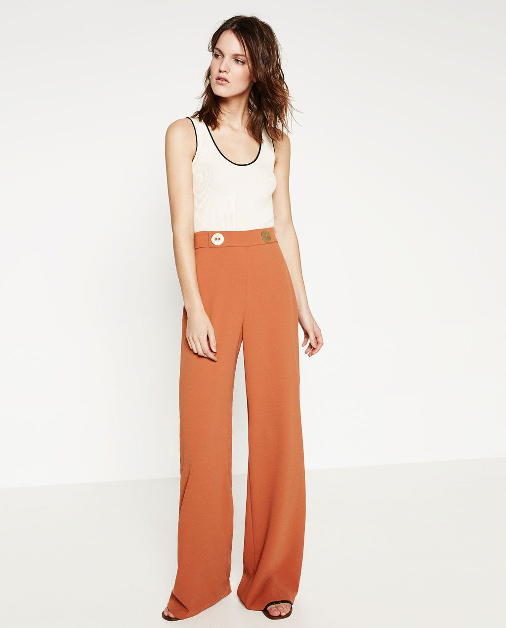 81f977c273 BUTTONED PALAZZO TROUSERS-View All-TROUSERS-WOMAN   ZARA United ...