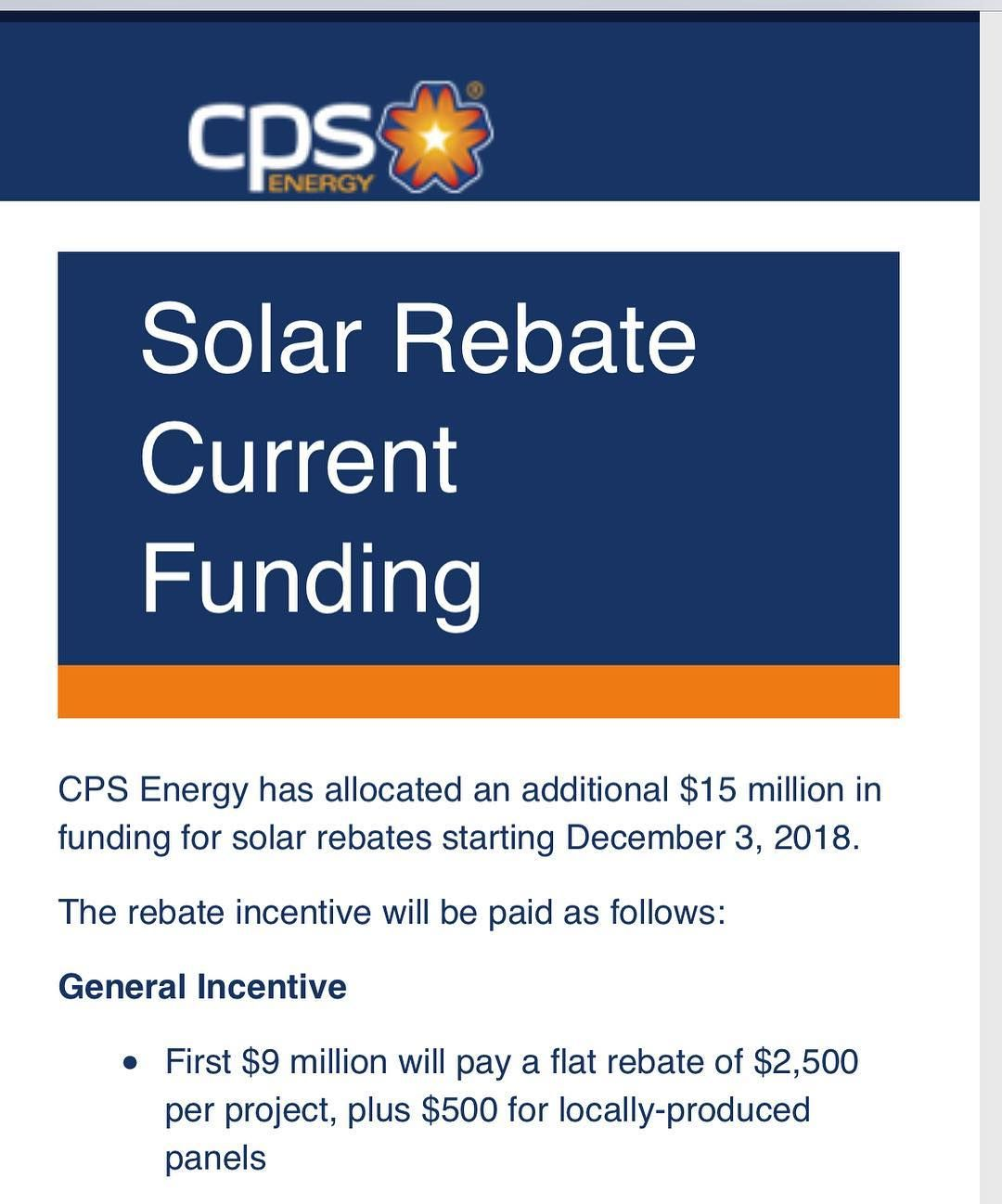Take Advantage Of The 3k Rebate And 30 Tax Credit Call Or Email Me Today To Set Up An Appointment Makethechange So In 2020 Cps Energy Solar Rebates Instagram Posts