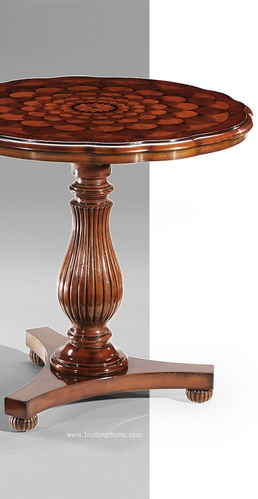 neoclassic style inlaid wood table with scalloped edge occasional rh pinterest com