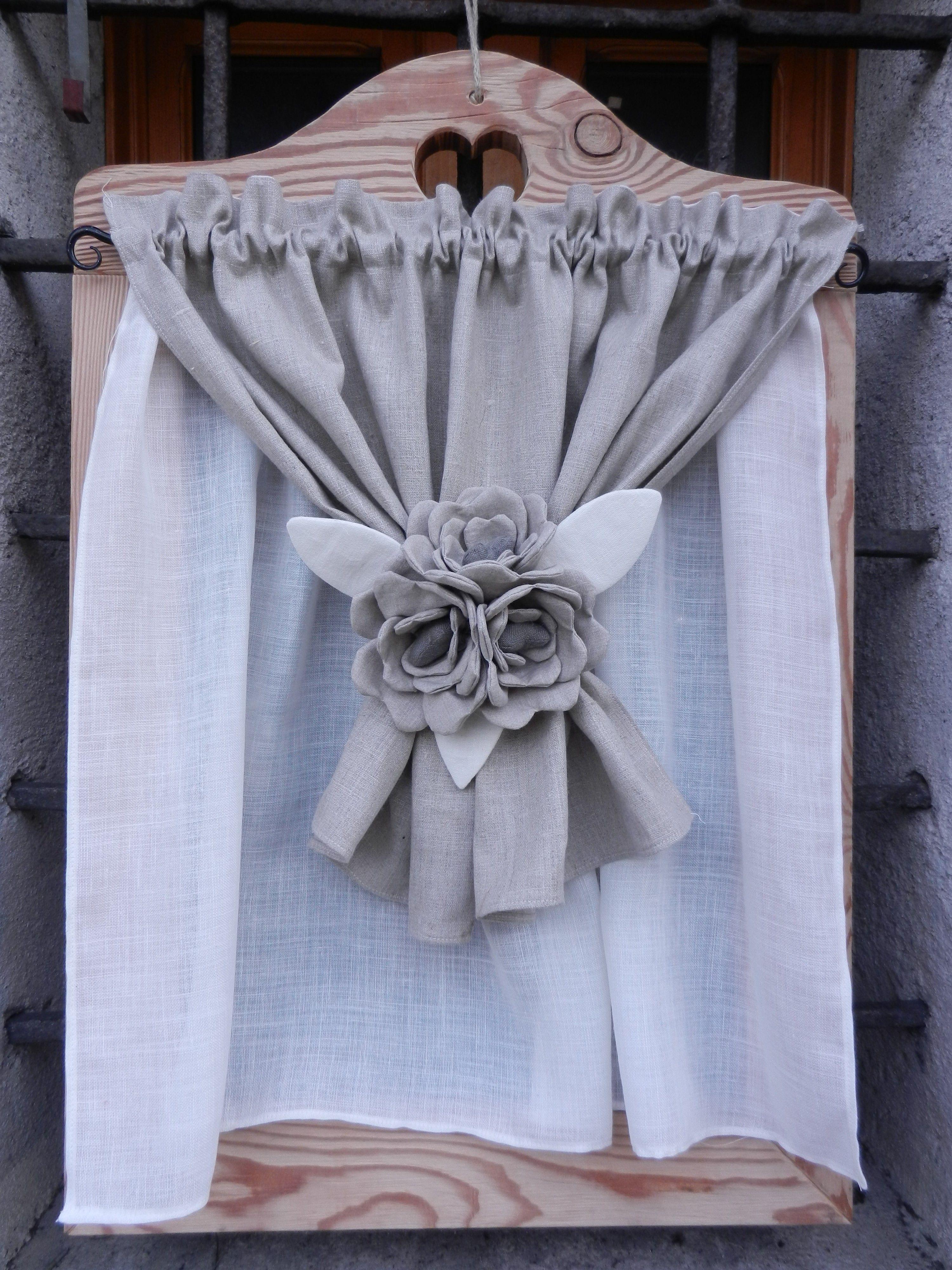 Tendina con gardenie centrali   Window Treatments   Tende ...
