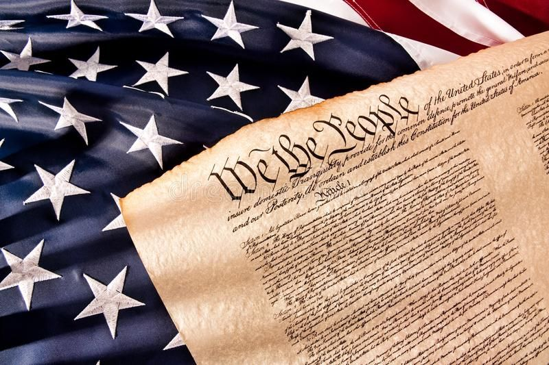US Constitution  We The People Old fashionet American Constitution with USA Fl