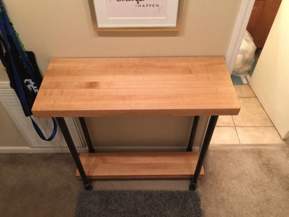 butcher block entry buffet table with metal by rusticvisionmetal rh pinterest com