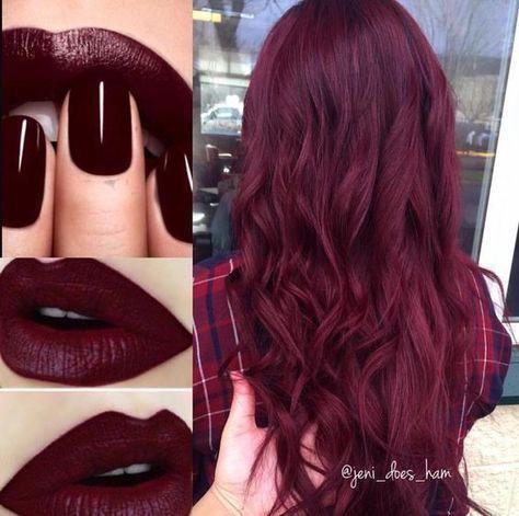 Photo of 55 peinados color marrón oscuro morado burdeos, #Borgoña # marrón oscuro # peinados # color de pelo …..