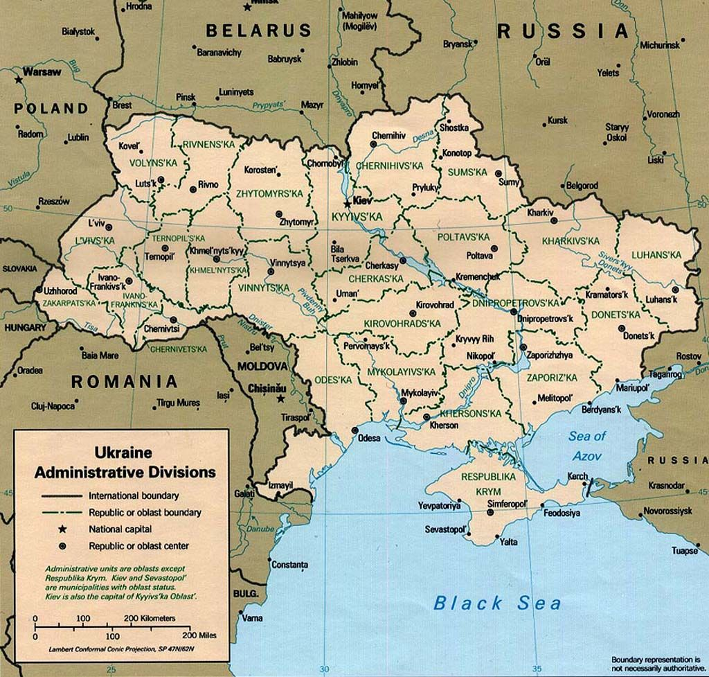 Large Size Ukraine Map Showing Cities And Regions Travel Around