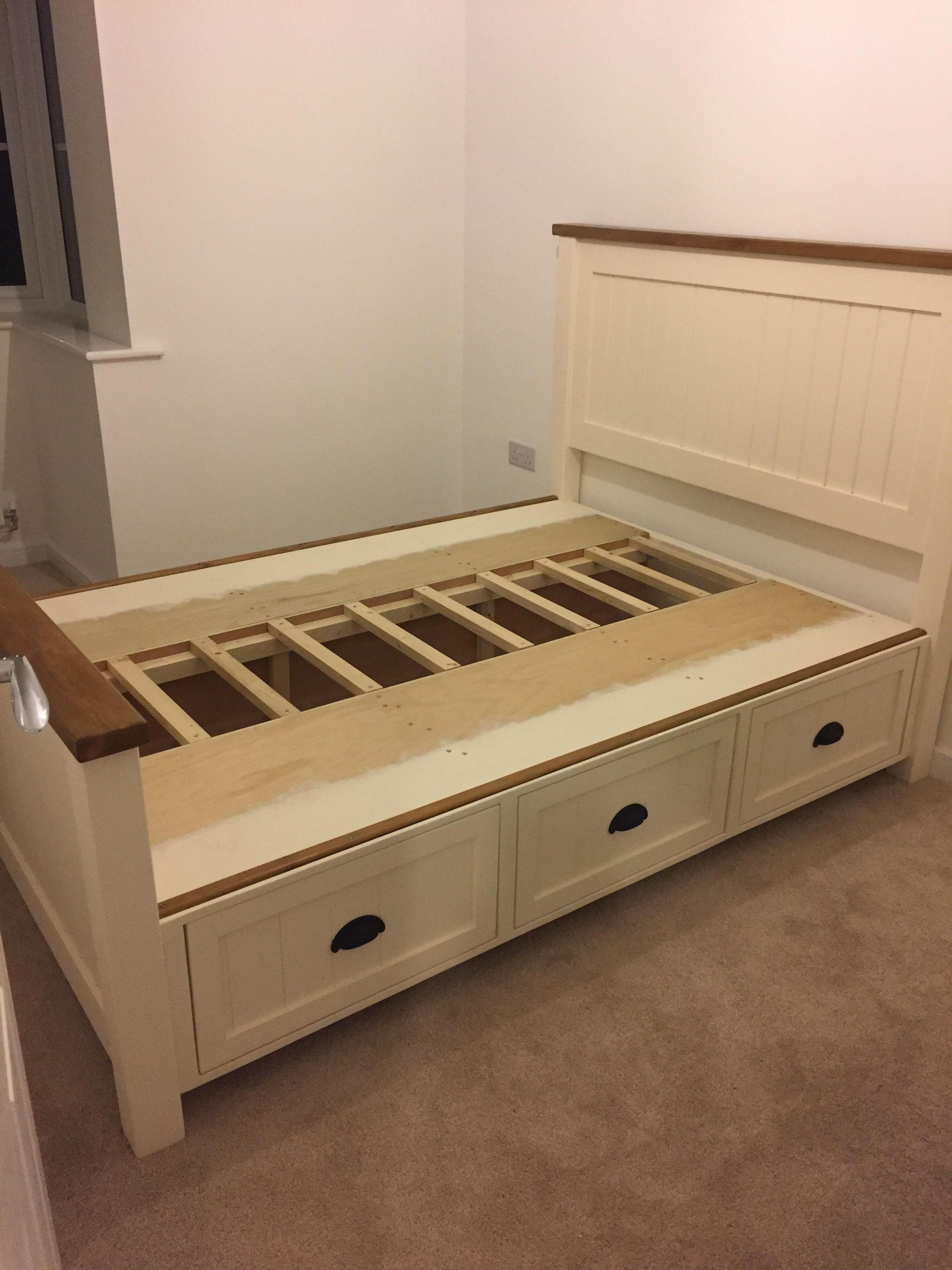 double bed with drawers on Custom Built Farmhouse Double Bed With Storage Drawers Double Bed With Storage Storage Bench Bedroom Bed Storage Drawers