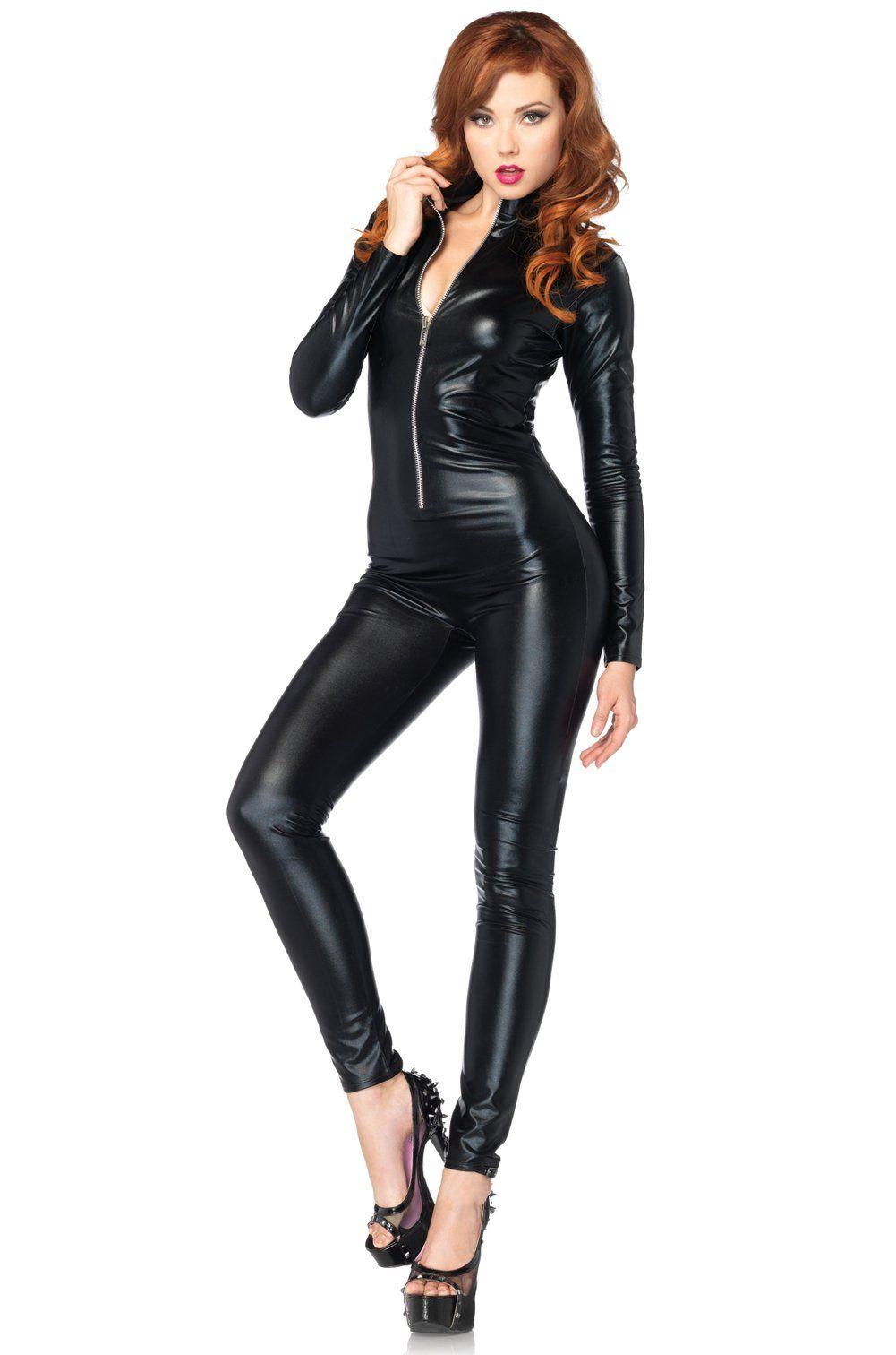 5ffae917ab5 For Austin Powers Costume - Womens Black Wet Look Faux Leather Cat Body  Suit Jumpsuit Halloween Costume