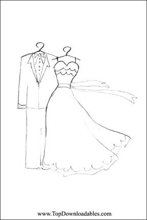 Wedding Dress Coloring Page | Wedding coloring pages, Free ...