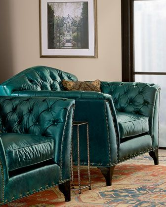 Love The Pair Of Leather Chairs In Teal/turquoise    Old Hickory Tannery  Montana