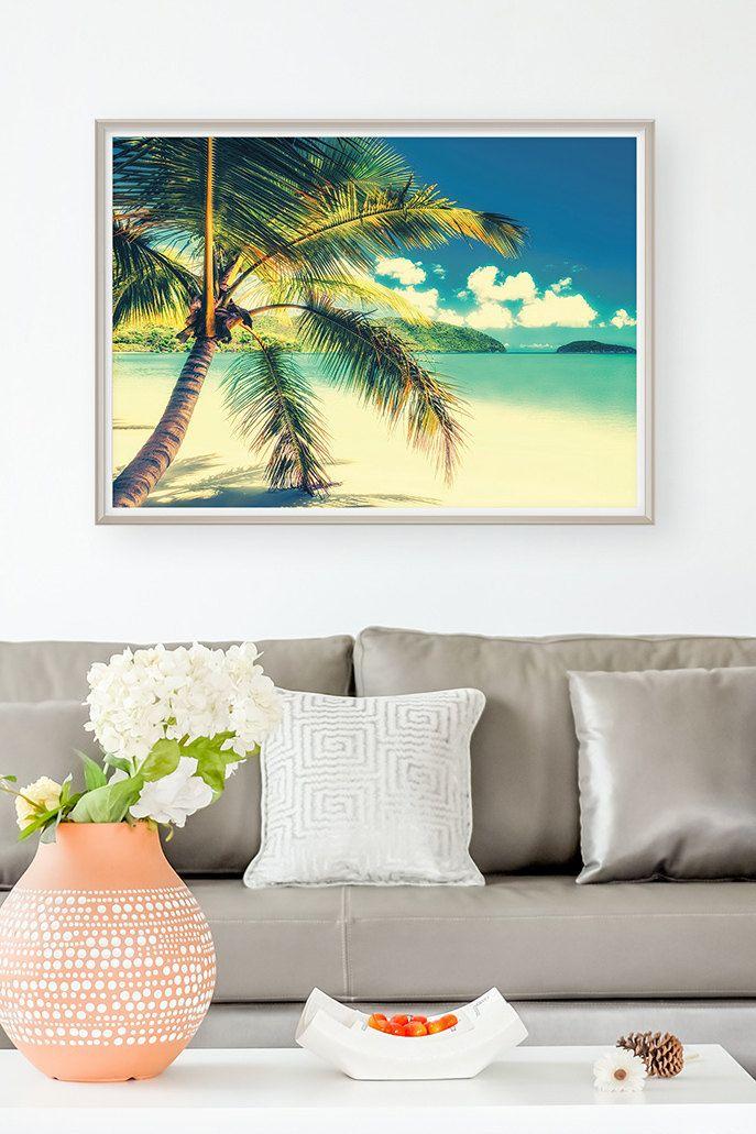 Beach Scene Coastal Decor Palm Tree