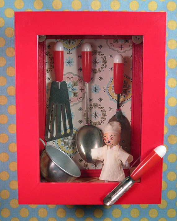 chef kitchen shadow box by thebuffoonery on etsy vintage toy rh pinterest com