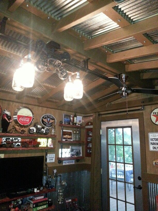 Tin Ceiling In Man Cave Metal Ceiling Metal Building Homes Tin Ceiling