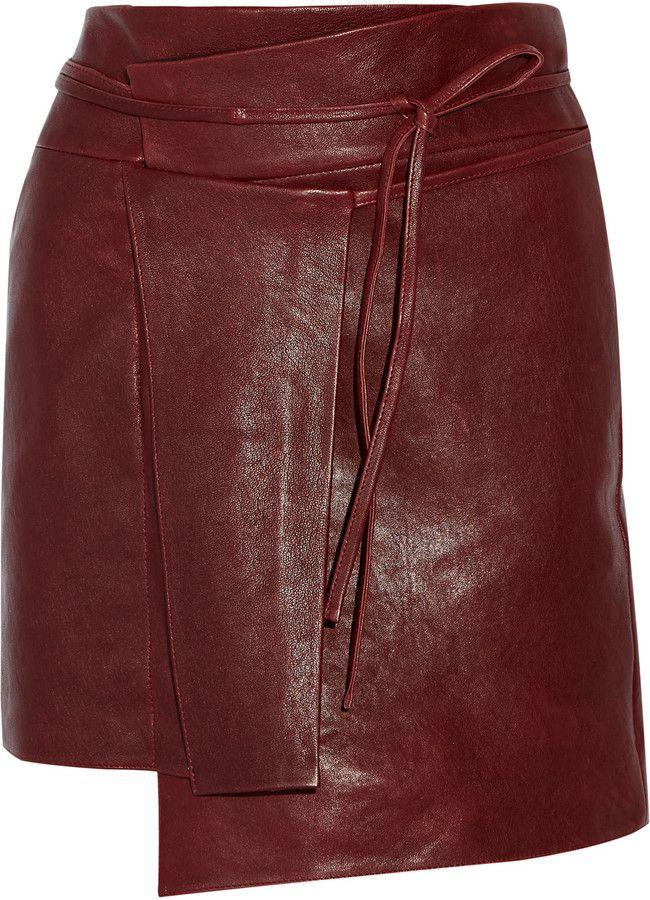 Isabel Marant Foften wrap effect leather mini skirt