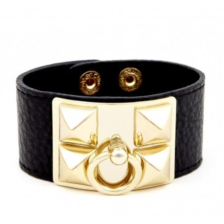 Celebrity Style  Faux Leather Cuff Bracelet with Gold Colour Pyramid Studs