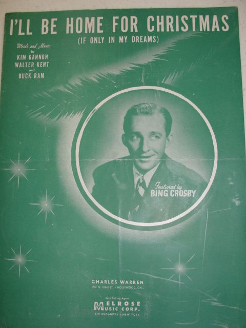 ill be home for christmas vintage sheet musici would so live this to frame - Bing Crosby I Ll Be Home For Christmas