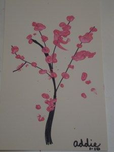 I Think It Could Be A Nice Idea For A Keepsake To Have Pink Finger Paint And Have Your Guests Leave A Fing Cherry Blossom Painting Finger Painting Art For Kids