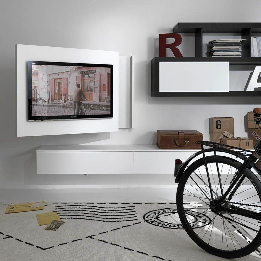 Moderne Tv Wandhalterung Schwenkbar Lackiertes Holz Free Fimar