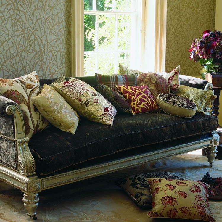 velvet sofa rich silk cushions interior design pinterest rh pinterest com
