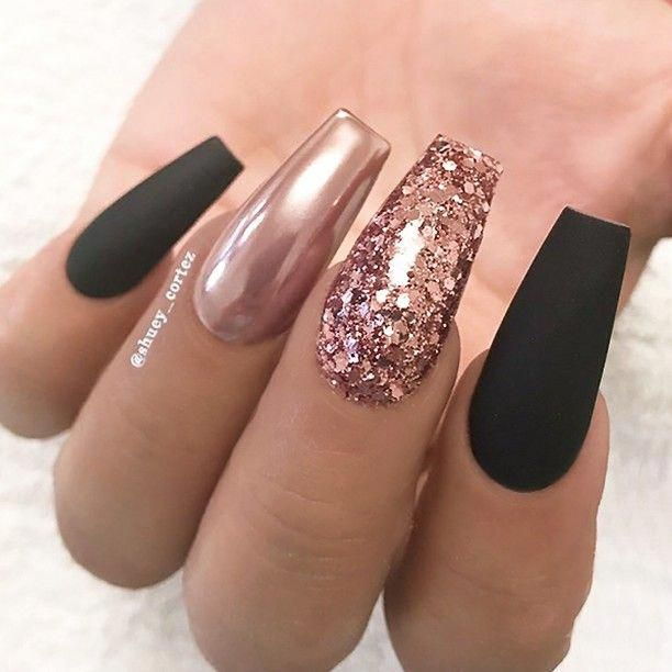 Repost Matte Black Rose Gold Glitter And Chrome On Long Coffin Nails Picture And Nail Gold Nail Designs Rose Gold Nails Design Rose Gold Nails