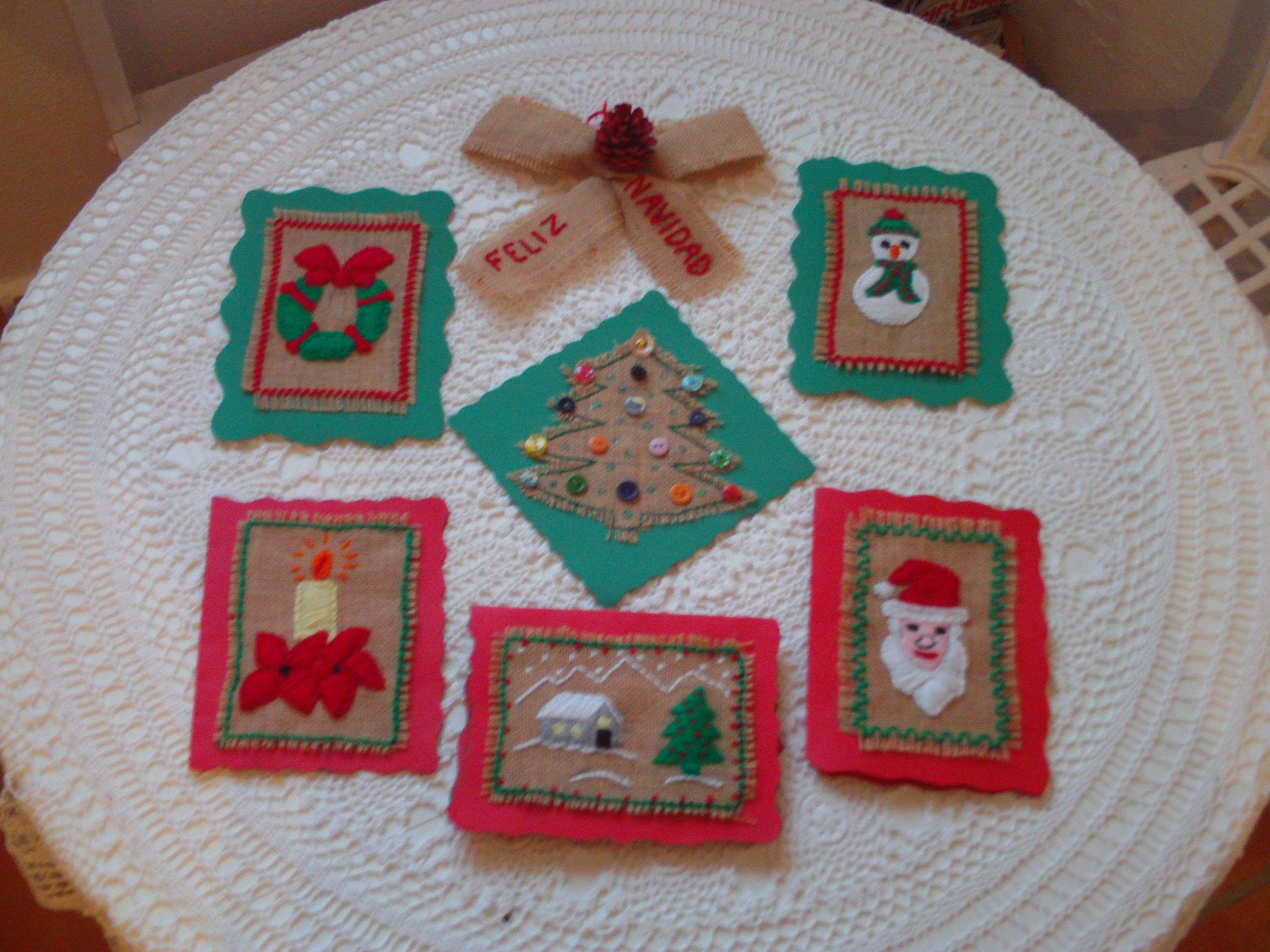 Tarjetas de navidad hechas a mano con tela de saco - Tela de saco ...