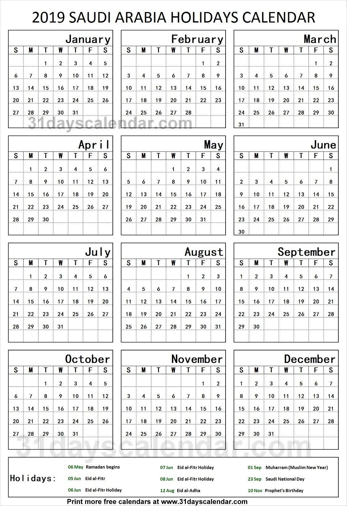 Saudi Arabia National Holidays 2019 Calendar 2019 Saudi Arabia Dowload In 2020 Holiday Calendar National Holiday Calendar Holiday Calendar Printable