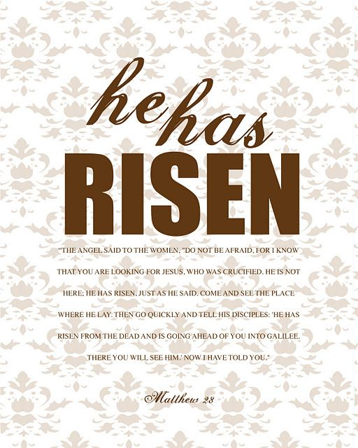 """""""He has Risen"""" free printable: also available in pink, yellow, blue and green text"""