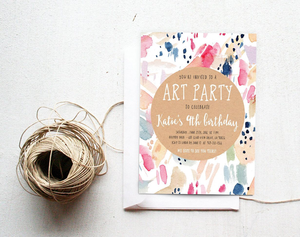 Painting Party Birthday Invitation, Art Party, Watercolor, Printable ...