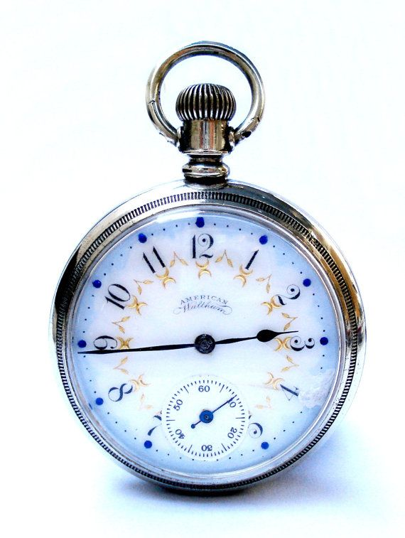 Vintage Pocket Watch American Waltham Open Face Usa 51mm Case Steel Dial Porcelain Colors 1890 Working Origin Vintage Pocket Watch Pocket Watch Vintage Watches