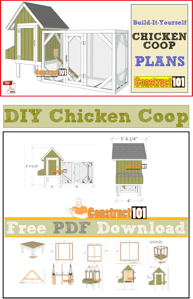 4x4 Chicken Coop Plans Pdf Download Construct101 Diy Chicken