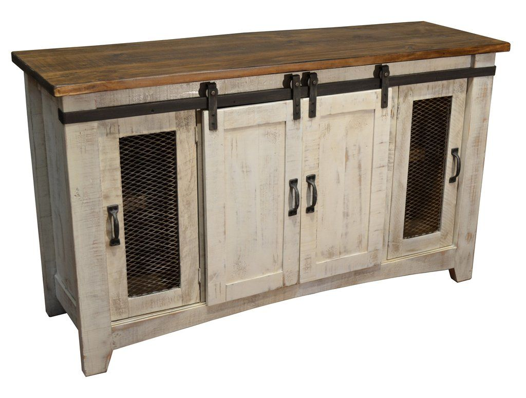 Greenview Sliding Door Distressed White Tv Stand 60