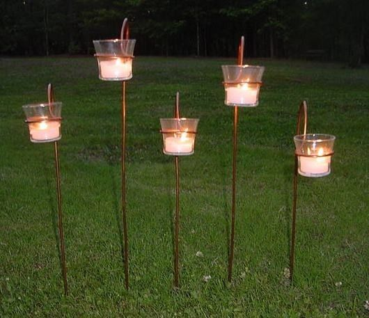 Copper Garden Candle Stakes Votive Holder Aisle By TheFunkyShack