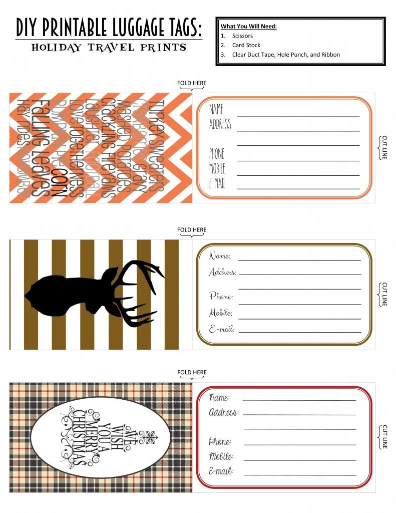 Printable Luggage Tags Holiday Travel Edition Luggage Tag