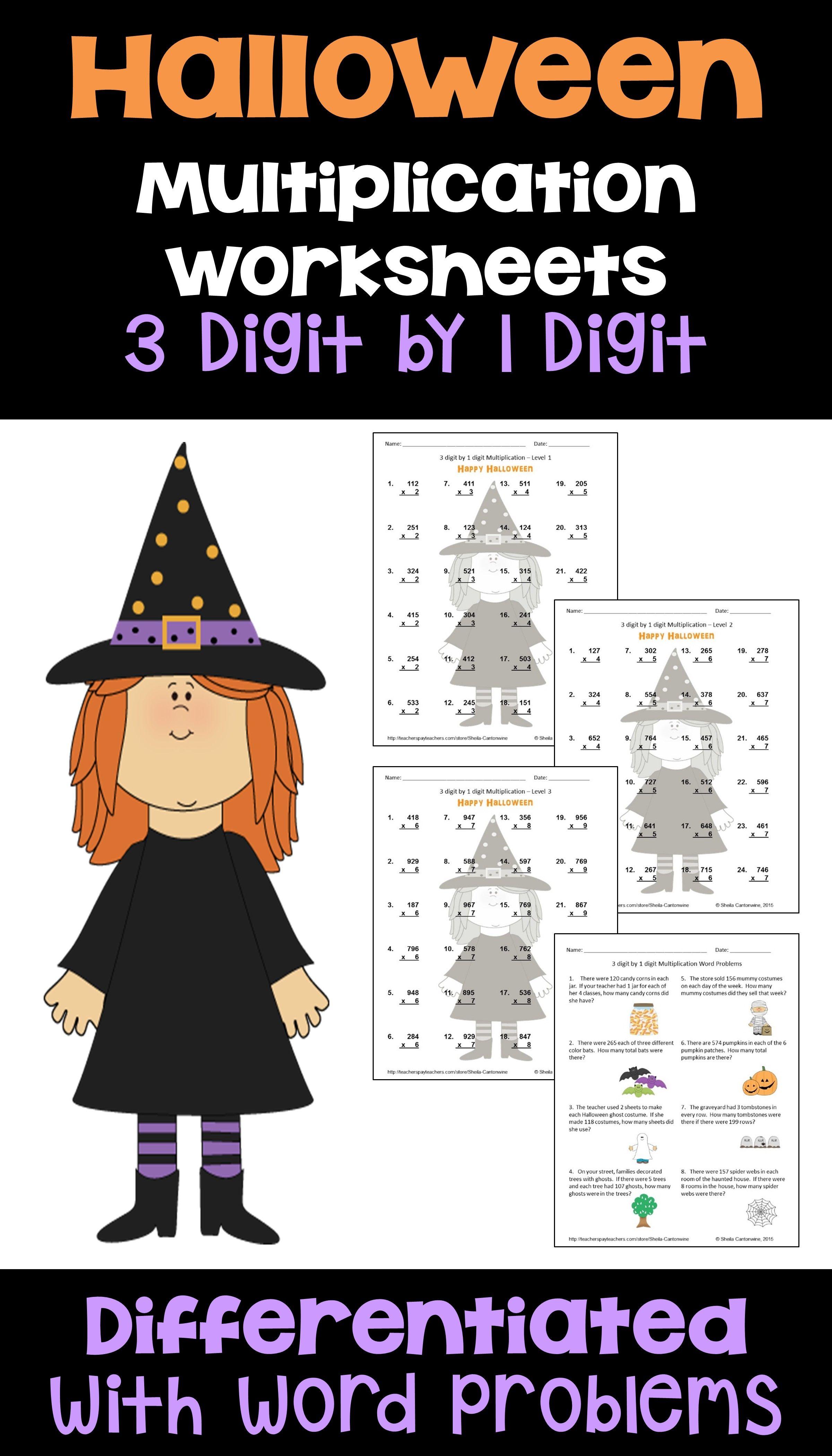 Halloween Math 3 Digit By 1 Digit Multiplication Worksheets