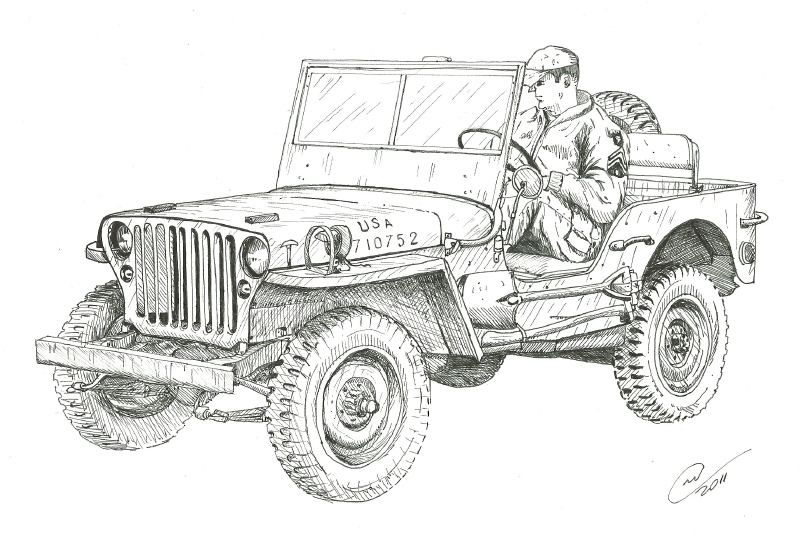 great war time image for the jeep coloring book