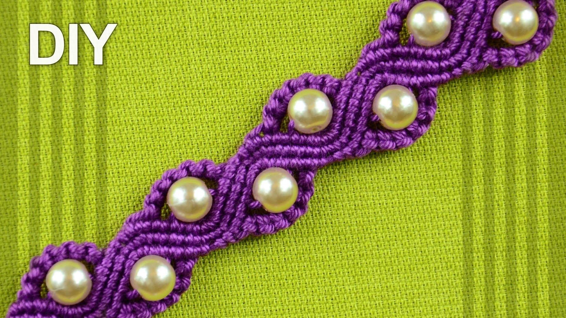 How to make a snake or a wave macrame bracelet with beads macrame