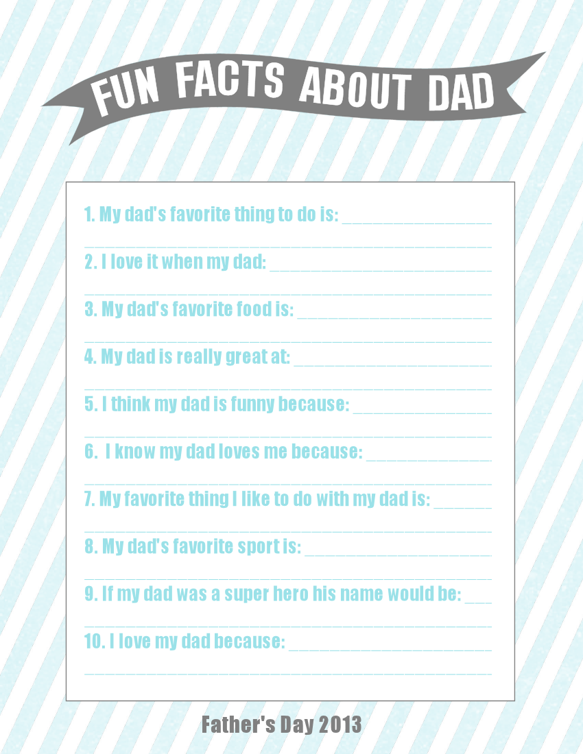 Zany image intended for father's day questionnaire printable