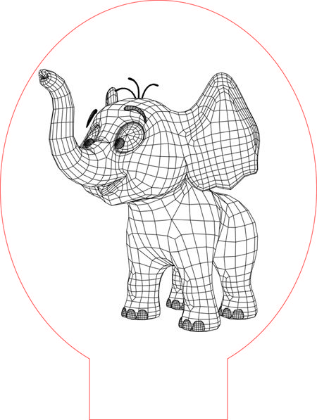 Cartoon Elephant 3d Illusion Vector File For Laser And Cnc 3bee Studio 3d Illusions Illusions Cartoon Elephant