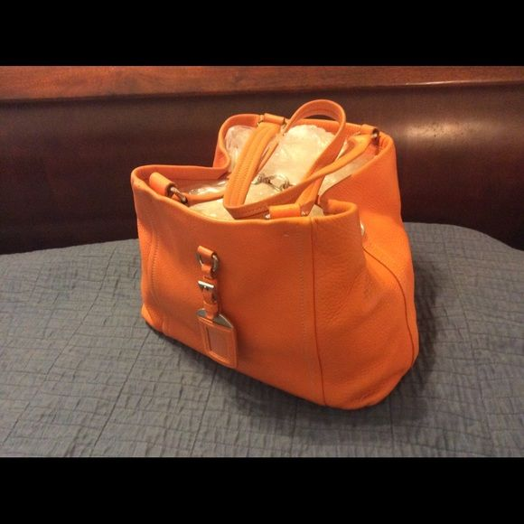 ecb7c870a43f Prada Orange Leather Tote Bag This is a great bag for every day