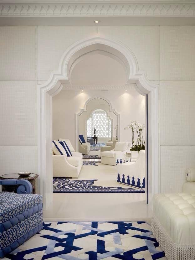 blue and white living room interior design inspired by morocco toog rh pinterest com